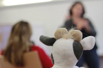 (Foto: WLL) Im Training. Auch Wilma wollte wissen, was die Bundesjugendreferent_innen so lernen und besprechen.