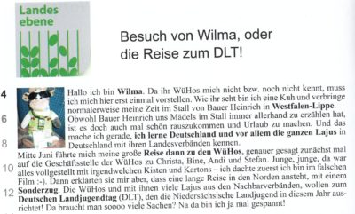 (Bild: BondueL Ausgabe 2/2016, Bund der LJ Württemberg-Hohenzollern) Wilma zu Besuch bei den WüHos!