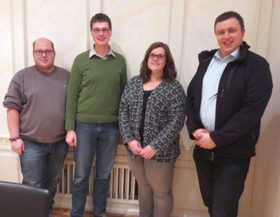 (Foto: WLL/Hoffmann) Das Referat Agrar trifft sich zur konstituierenden Sitzung, v.l. Sebastian Jakobs, Martin Bohle, Sarah Berkhoff, Stefan Schmidt