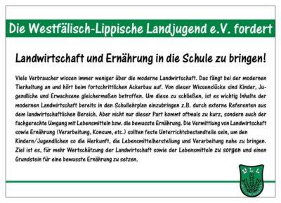 (Bild: WLL/Berkhoff) WLL Medieninformation Wahlforderung 2/15 Landwirtschaft und Ernährung in die Schule bringen