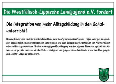 (Bild: WLL/Berkhoff) WLL-Medieninformation: Wahlforderung-3-15: Integration von Alltagsbildung in den Schulunterricht