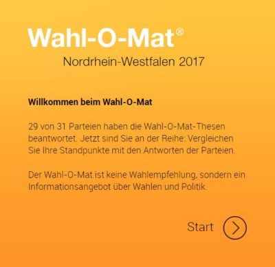 (Bild: Screenshot) Wahl-O-Mat zur Landtagswahl in NRW