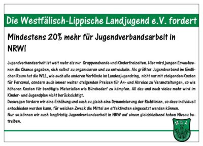 (Bild: WLL/Berkhoff) Wahlforderung 15/15 Etaterhöhung Jugendverbandsarbeit