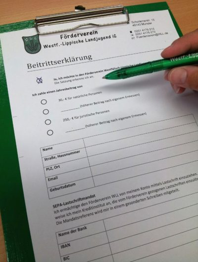 (Foto: WLL/Engberding) Mitgliedschaft zum Förderverein der WLL