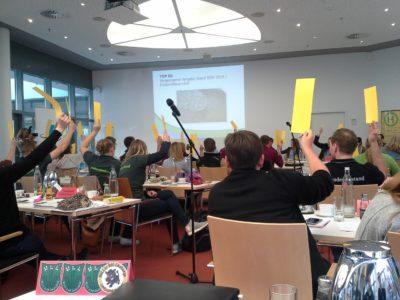 (Foto: WLL/Trepte) Abstimmung über den Landjugendstand bei der IGW 2019