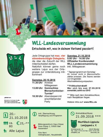 (Bild: WLL) Flyer der Landesversammlung 2018
