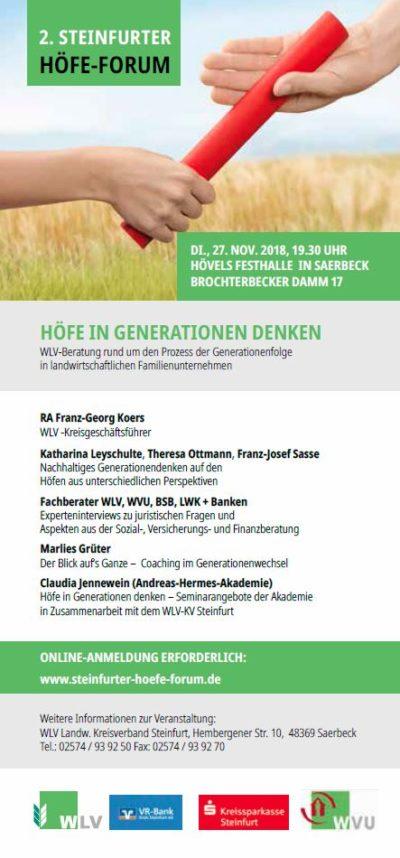 (Bild: WLV) Steinfurter Höfeforum WLV