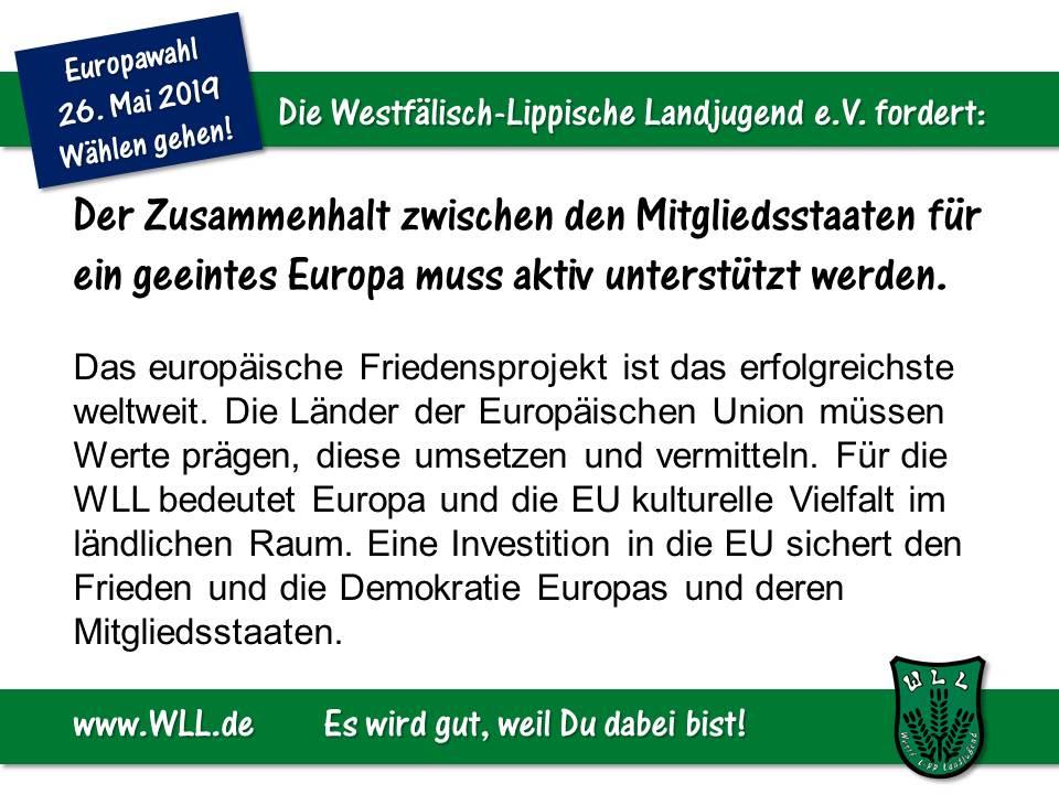 (Bild: WLL) Wahlforderung - Europäisches Bekenntnis