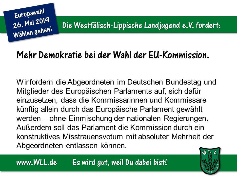 (Bild: WLL) WLL-Wahlforderung - Mehr Demokratie bei der Wahl der EU-Kommission