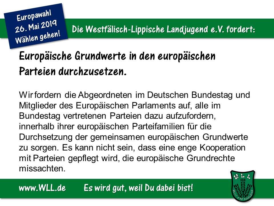 (Bild: WLL) WLL-Wahlforderderung - Europäische Grundwerte in den europäischen Parteien durchsetzen