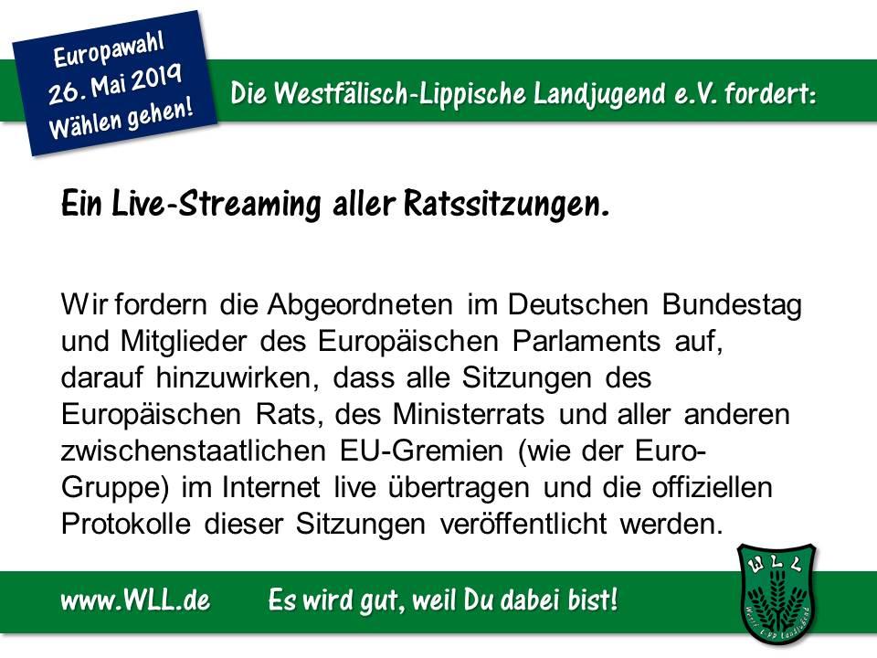 (Bild: WLL) WLL-Wahlforderung - Live-Streaming aller Ratssitzungen