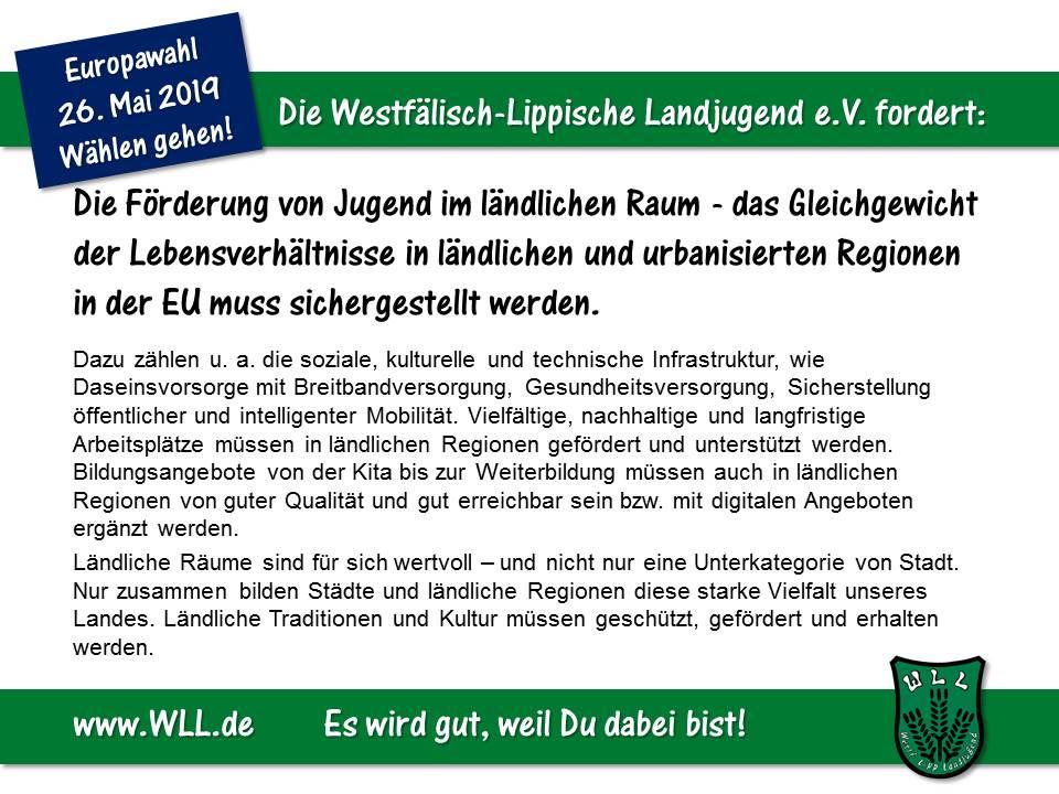 (Bild: WLL) Wahlforderung - Förderung von Jugend im ländl. Raum Final