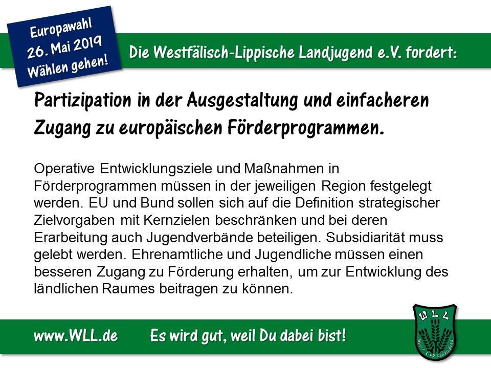 (Bild: WLL) WLL-Wahlforderung - Europäische Förderprogramme