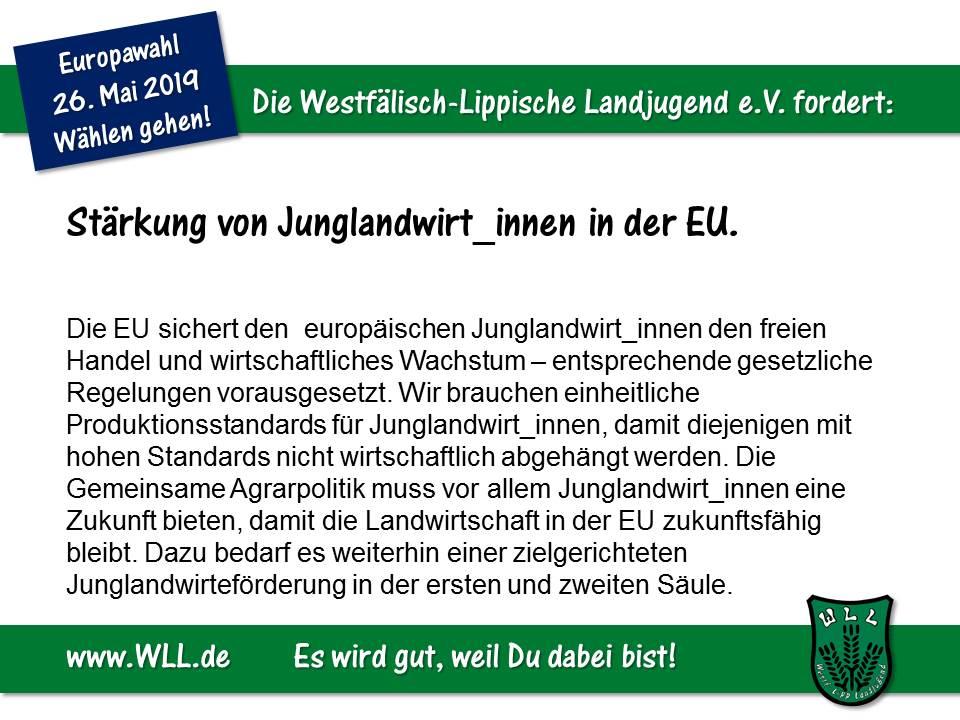 (Bild: WLL) WLL-Wahlforderung - Junglandwirt_innen stärken