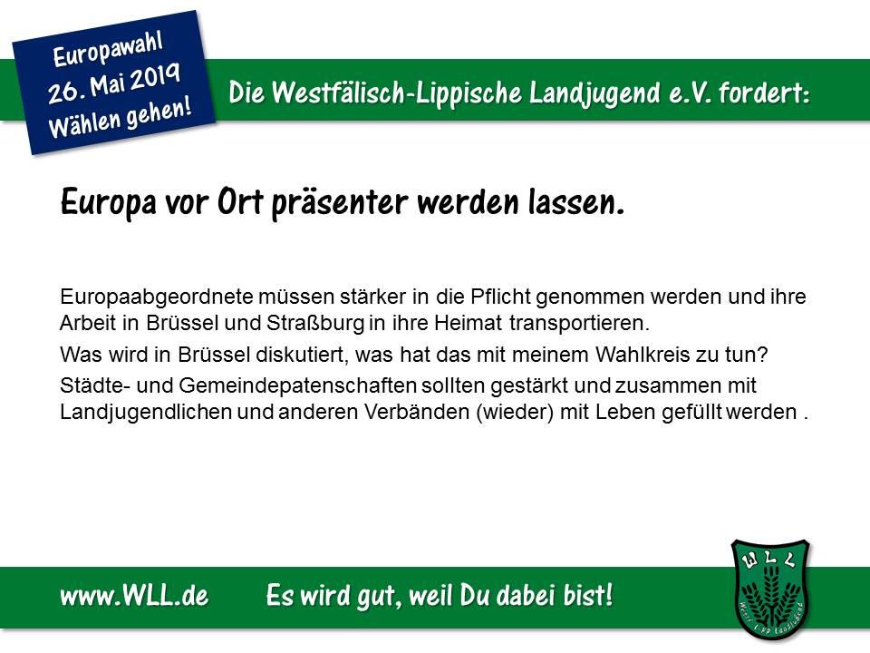 (Bild: WLL) Wahlforderung - Europa vor Ort präsenter werden lassen