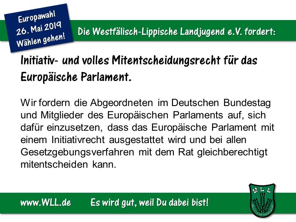(Bild: WLL) WLL-Wahlforderung - Initiativ- und Mitentscheidungsrecht für das EU-Parlament
