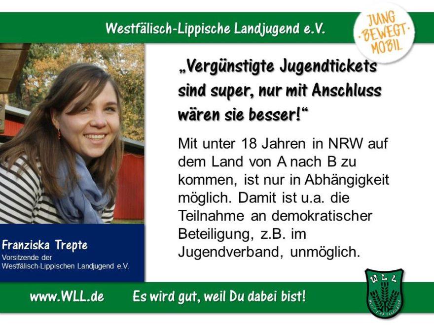 (Bild: WLL) Anschluss bitte! Jugendgerechter Ausbau des ÖPNV in NRW!