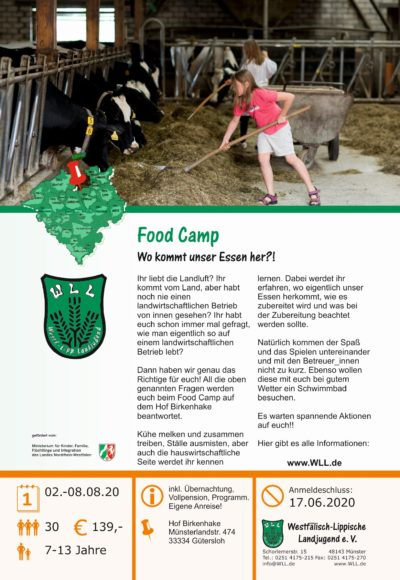 Flyer Food Camp 2020 (Bild: WLL)